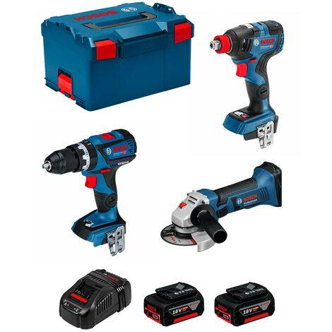 BOSCH Kit GSB 18V-60C GDX 18V-200C GWS 18-125V-LI (2 x 5,0Ah GAL1880CV L-Boxx 238)