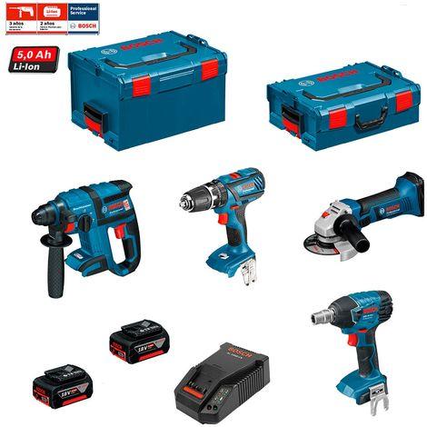 BOSCH Kit PSG4P2B (GBH 18V-EC + GSB 18-2-LI + GWS 18V-LI + GDS 18V-LI + 2 x 5,0Ah + AL1860CV + L-Boxx 238 + L-Boxx 136)