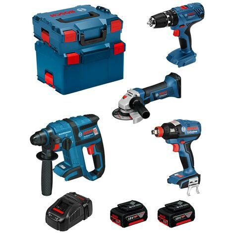 BOSCH Kit PSG4P2C (GBH 18V-EC GSB 18V-21 GWS 18-125 V-LI GDX 18V-EC 2 x 5,0Ah GAL1880CV L-Boxx 238 L-Boxx 136)