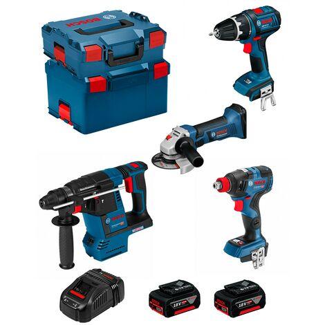 BOSCH Kit PSG4P2D (GBH 18V-26F + GSB 18 V-LI + GWS 18-125 V-LI + GDX 18V-200C + 2 x 5,0Ah + GAL1880CV + L-Boxx 238 + L-Boxx 136)