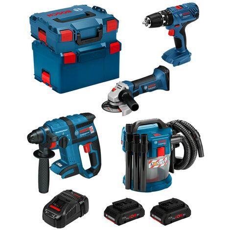 BOSCH Kit PSL4M2CECP (GBH 18V-EC GSB 18V-21 GWS 18-125V-LI GAS 18V-10L 2x4,0Ah PROCOREGAL1880CVL-Boxx136L-Boxx238)