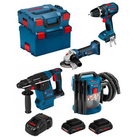 BOSCH Kit PSL4M2CP (GBH 18V-26F GSB 18V-LI GWS 18-125V-LI GAS 18V-10L 2x4,0Ah PROCORE GAL1880CVL-Boxx136L-Boxx238)