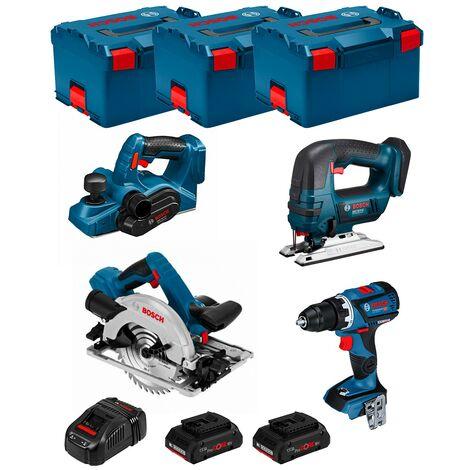 BOSCH Kit PSL4WM2CP (GSR 18V-60C + GST 18V-LI + GKS 18V-57G + GHO 18V-LI + 2 x 4,0 Ah PROCORE + GAL1880CV + 3 x L-Boxx 238)