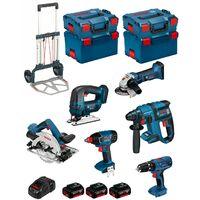 BOSCH Kit PSL6M3A (GBH 18 V-EC + GKS 18 V-LI + GWS 18 V-LI + GDX 18 V-LI + GSB 18-2-LI Plus + GST 18 V-LI + GAL1880CV + 3 x 4,0 Ah Li-Ion + 2 L-Boxx 238 + 2 x L-Boxx 136 + Caddy)