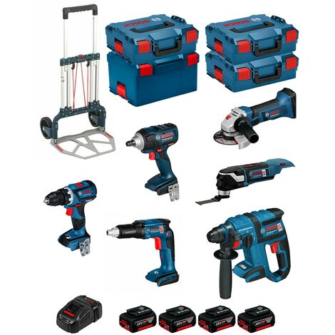 BOSCH Kit PSL6P4MCEC (GWS18-125V-LI+GSR18V-60C+GOP18V-28+GDS18V-EC 250+GSR18V-EC TE+GBH18V-EC+4x5,0Ah +GAL1880CV+4xL-Boxx+Caddy)