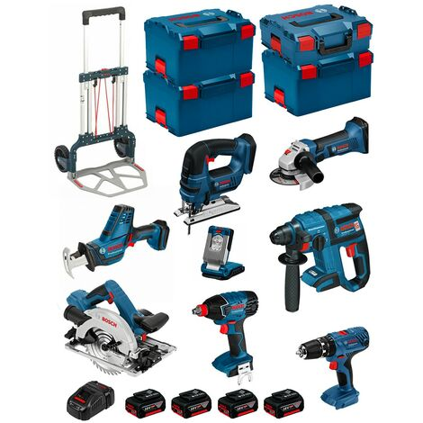 BOSCH Kit PSL8P4A+Caddy (GST 18 V-LIB+GKS 18V-57G+GDX 18V-LI+GBH 18V-EC+GSA 18V-LIC+GLI VariLED+GSB 18V-21+GWS 18-125V-LI)
