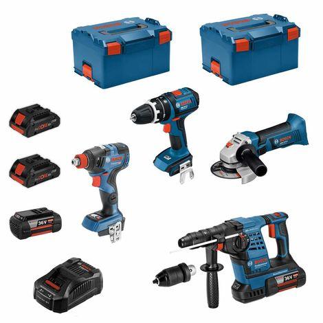 BOSCH Kit RS36184M2 (GBH 36VF-LIPlus+GWS 18-125V-LI+GSB 18V-LI+GDX 18V-200C + 2x4,0Ah 36V + 2x4,0Ah 18V+ GAL3680CV+ 2xL-Boxx238)