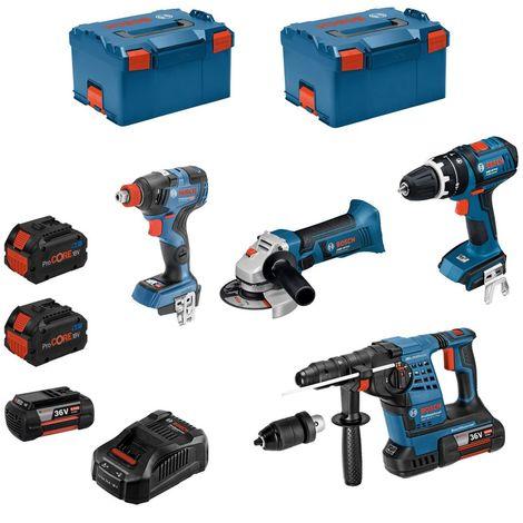 BOSCH Kit RS36184T2 (GBH 36VF-LI Plus + GWS 18-125 V-LI + GSB 18 V-LI + GDX 18V-200 C + 2 x 6,0 Ah 36V + ...)