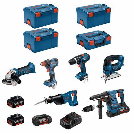 BOSCH Kit RS36186P3 (GBH36VF-LIPlus+GWS18-125V-LI+GSB18V-LI+GDX18V-200C+GST18V-LI+GSA18V-LI+2x4,0Ah+2x5,0Ah+ GAL3680CV+3xL-Boxx)