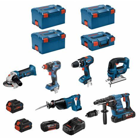 BOSCH Kit RS36186T3 (GBH36VF-LIPlus+GWS18-125V-LI+GSB18V-LI+GDX18V-200C+GST18V-LI+GSA18V-LI+2x6,0Ah+2x8,0Ah +GAL3680CV+3xL-Boxx)