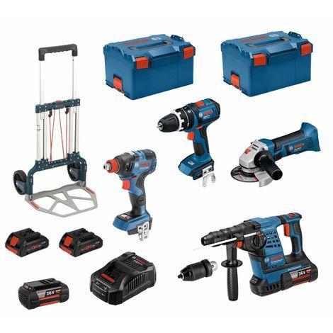 BOSCH Kit RSL36184M2 (GBH 36VF-LIPlus+GWS 18-125V-LI+GSB 18V-LI+GDX 18V-200C+ 2x4,0Ah 36V+ 2x4,0Ah +2xL-Boxx238 +Caddy)