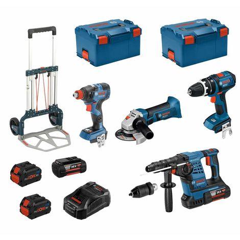 BOSCH Kit RSL36184T2 (GBH 36VF-LIPlus+GWS 18-125V-LI+GSB 18V-LI+GDX 18V-200 C + 2x6,0Ah+ 2x8,0Ah+ GAL3680CV+ 2xL-Boxx238+ Caddy)