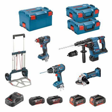 BOSCH Kit RSL3618MP2CHD (GWS 18-125 V-LI + GBH 36VF-LI Plus + GSB 18 V-LI + GDX 18V-200C + 2 x 5,0Ah 18V + 2 x 4,0Ah 36V + ...)