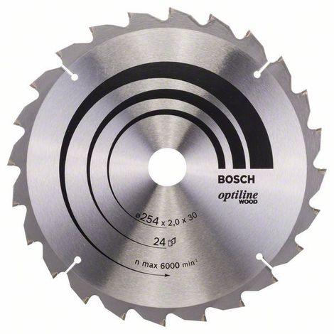 Bosch Kreissägeblatt Optiline Wood für Kapp- und Gehrungssägen, 254 x 30 x 2,0 mm, 24