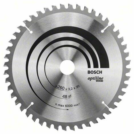 Bosch Kreissägeblatt Optiline Wood für Kapp- und Gehrungssägen, 260 x 30 x 3,2 mm, 48