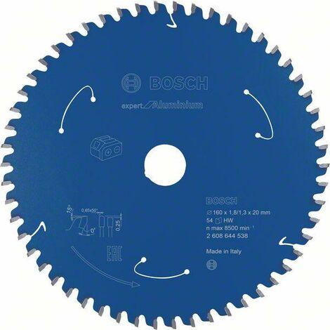 Bosch Lame de scie circulaire Expert for Aluminium pour scies sans fil, 160 x 1,8/1,3 x 20, 54 dents - 2608644538