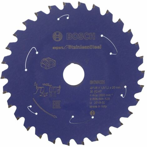 Bosch Lame de scie circulaire Expert for Stainless Steel 136 x 1,5 x 20 / 15,875 mm - 30 dents ( 2608644530 )