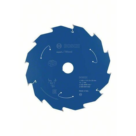 Bosch Lame de scie circulaire Expert for Wood pour scies sans fil, 160 x 1,5/1 x 20 T12 - 2608644502