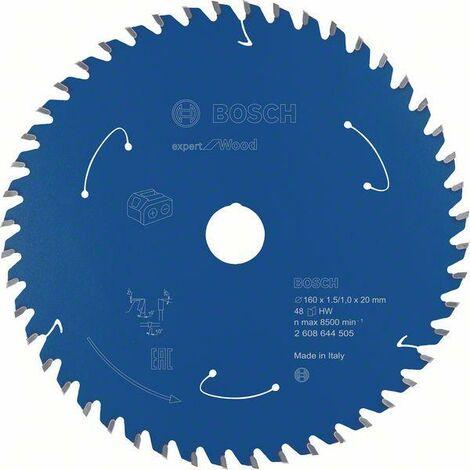 Bosch Lame de scie circulaire Expert for Wood pour scies sans fil, 160 x 1,5/1 x 20 T48 - 2608644505