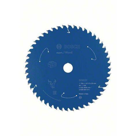 Bosch Lame de scie circulaire Expert for Wood pour scies sans fil, 184 x 1,6/1 x 20 T48 - 2608644511