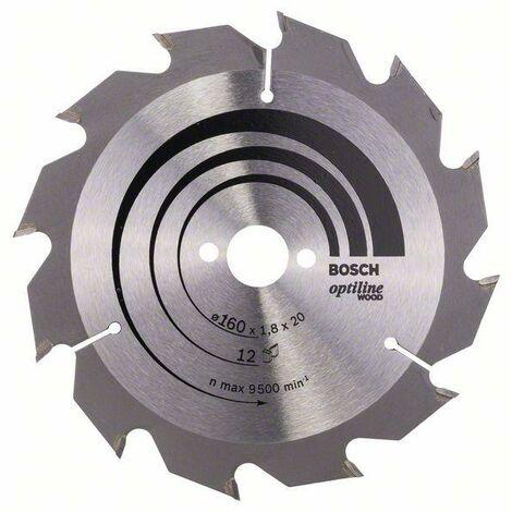 Bosch Lame de scie circulaire Optiline Wood 160 x 20/16 x 1,8 mm, 12