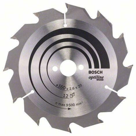 Bosch Lame de scie circulaire Optiline Wood 160 x 20/16 x 2,6 mm, 12