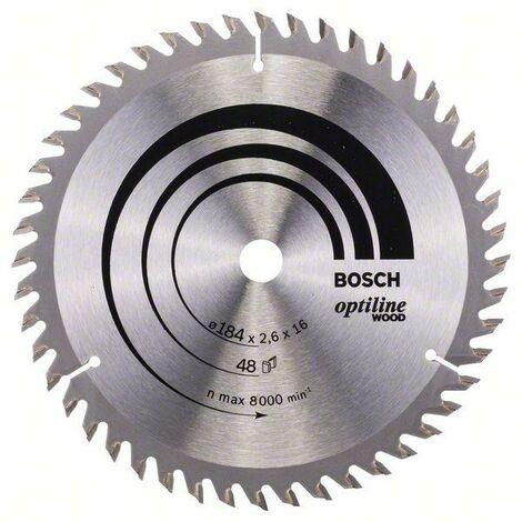 Bosch Lame de scie circulaire Optiline Wood, 184 x 16 x 2,6 mm, 48 - 2608641181