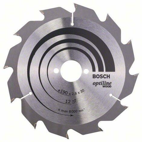 Bosch Lame de scie circulaire Optiline Wood 190 x 30 x 2,6 mm, 12