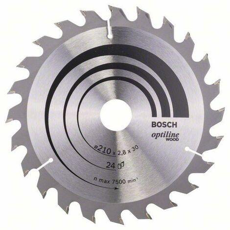 Bosch Lame de scie circulaire Optiline Wood, 210 x 30 x 2,8 mm, 24 dents - 2608640621
