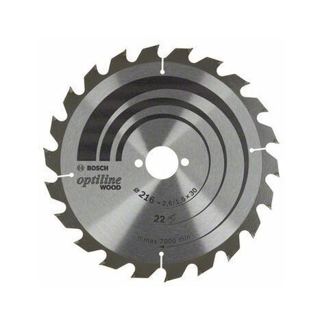 Bosch Lame de scie circulaire Optiline Wood, 216 x 30 x 2,6/1,6, 22 - 2608838410
