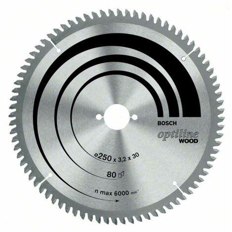 Bosch Lame de scie circulaire Optiline Wood, 250 x 30 x 3,2 mm, 80 dents - 2608640645
