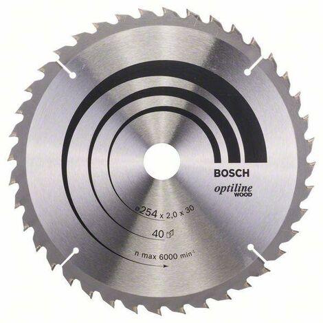 Bosch Lame de scie circulaire Optiline Wood 254 x 30 x 2,0 mm, 40