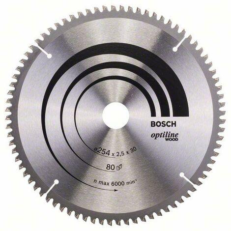 Bosch Lame de scie circulaire Optiline Wood 254 x 30 x 2,5 mm, 80