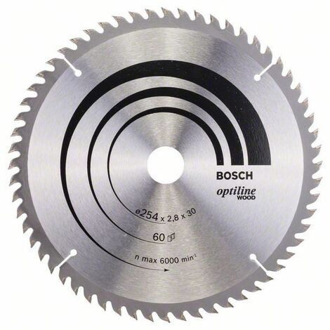 Bosch Lame de scie circulaire Optiline Wood 254 x 30 x 2,8 mm, 60