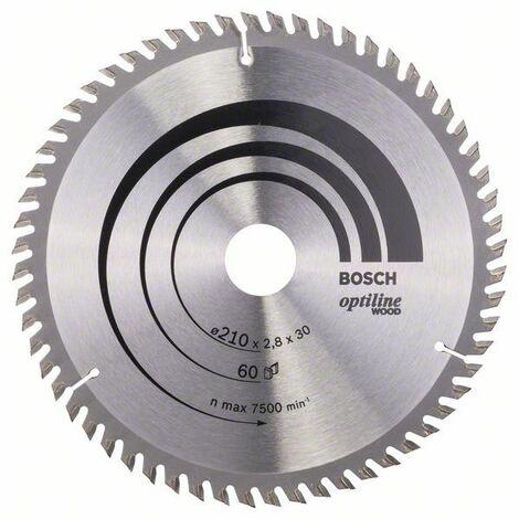 Bosch Lame de scie circulaire Optiline Wood pour scies circulaires portatives, 210 x 30 x 2,8 mm, 60
