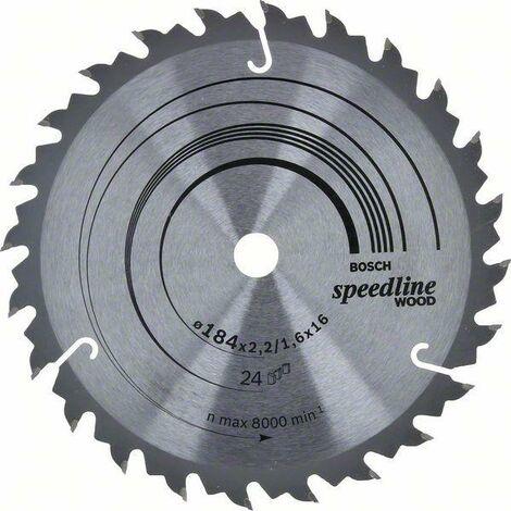 Bosch Lame de scie circulaire Speedline Wood, 184 x 16 x 2,4 mm, 24 - 2608640795