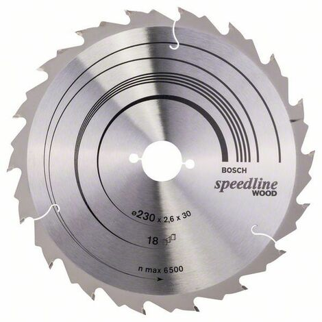 Bosch Lame de scie circulaire Speedline Wood, 230 x 30 x 2,6 mm, 18 - 2608640804