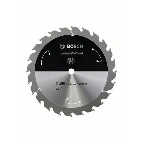 Bosch Lame de scie circulaire Standard for Wood pour scies sans fil 150x1.6/1x10, T24 - 2608837673