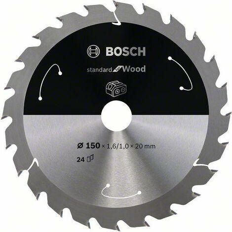 Bosch Lame de scie circulaire Standard for Wood pour scies sans fil 150x1.6/1x20, T24 - 2608837674