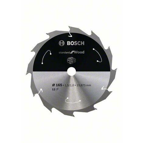 Bosch Lame de scie circulaire Standard for Wood pour scies sans fil 165x1.5/1x15.875, T12 - 2608837680
