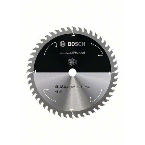 Bosch Lame de scie circulaire Standard for Wood pour scies sans fil 184x1.6/1.1x16, T48 - 2608837699