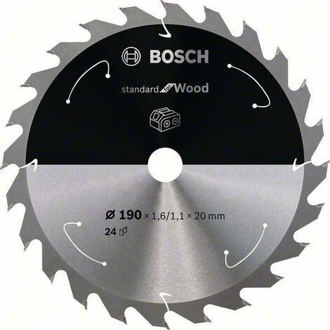 Bosch Lame de scie circulaire Standard for Wood pour scies sans fil 190x1.6/1.1x20, T24 - 2608837704