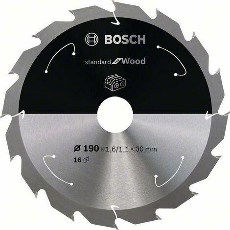 Bosch Lame de scie circulaire Standard for Wood pour scies sans fil 190x1.6/1.1x30, T16 - 2608837706