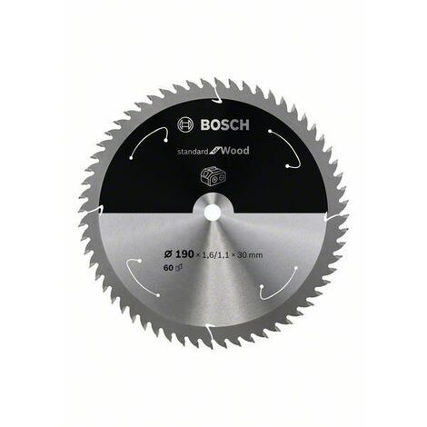 Bosch Lame de scie circulaire Standard for Wood pour scies sans fil 190x1.6/1.1x30, T60 - 2608837711
