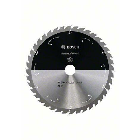 Bosch Lame de scie circulaire Standard for Wood pour scies sans fil 254x2.2/1.6x30, T40 - 2608837734