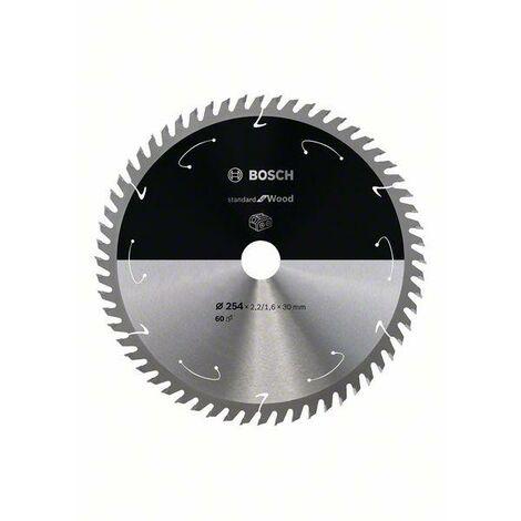 Bosch Lame de scie circulaire Standard for Wood pour scies sans fil 254x2.2/1.6x30, T60 - 2608837736
