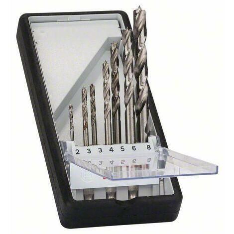 Bosch Mèches à bois hélicoïdales Robust Line à queue six pans, jeu de 7 pièces 2, 3, 3, 4, 5, 6, 8 mm