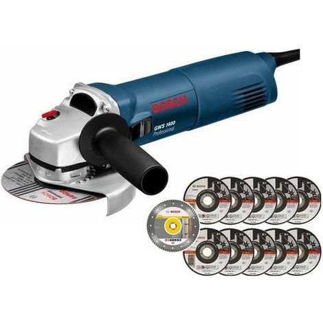 BOSCH Meuleuse Ø 125 mm 1400 W + 11 disques - GWS1400 pack >>