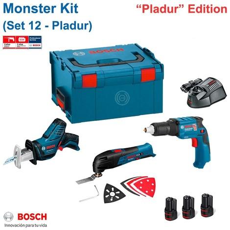 BOSCH Monster Kit 12V Set 12 spécial Placoplâtre (GTB 12V-11+ GOP 12V-LI + GSA 12V-14 + 3 x 2,0 Ah + GAL1230CV + L-Boxx 238)