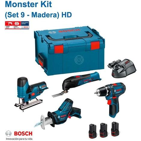 BOSCH Monster Kit 12V Set 9 Spécial Bois HD (GSR 12V-15 + GSA 12V-14 + GST 12V-70 + GOP 12V-LI + 3 x 2,0 Ah + GAL1230CV + L-Boxx 238)